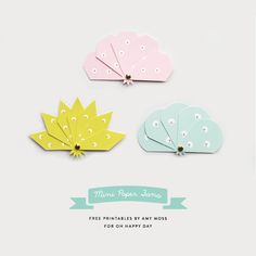 Mini Paper Fan Printables - Diy and crafts interests Origami, Diy Paper, Paper Crafts, Diy Crafts, Diy Projects To Try, Craft Projects, Papier Diy, Paper Fans, Printable Paper