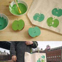 Olha como fica legal decorar nossas próprias sacolas ecológicas!