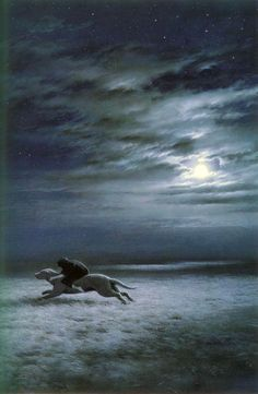 Ted Nasmith - Luthien Escapes Upon Huan (Silmarillian / Beren and Luthien)