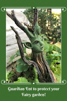 Handsome green WoodSprite will watch over your Fairy garden! He is a charming addition to any potted plant or display.