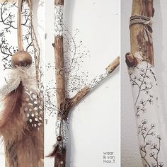 Handmade creations inspired by nature - De website van waarikvanhout! Painted Driftwood, Driftwood Crafts, Boho Diy, Boho Decor, Summer Crafts, Diy And Crafts, Spirit Sticks, Twig Art, Deco Nature