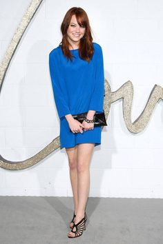 At the Chloé Los Angeles boutique opening, she pairs a blue shift dress with Jimmy Choo sandals.   - ELLE.com