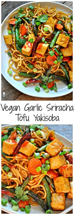 Vegan Garlic Sriracha Tofu Yakisoba Rabbit And Wolves - Vegan Garlic Sriracha Tofu Yakisoba Is A Totally Essential Quick And Healthy Meal Perfect For Weeknights Easy To Make With Whatever Veggies You Have On Hand And Seriously Incredibly Delicious Whe Tofu Recipes, Asian Recipes, Cooking Recipes, Healthy Recipes, Apple Recipes, Cooking Tips, Vegan Foods, Vegan Vegetarian, Vegetarian Recipes