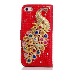 EVTECH(TM) Peacock Bling Crystal Rhinestone Flower Pearl Diamond Design Sparkle Glitter Leather Wallet Type Magnet Flip Case Cover for Iphone 5 5S At&t Verizon T-Mobile & Sprint -  http://www.amazon.com/gp/product/B00HJ1C042?ie=UTF8&camp=1789&creativeASIN=B00HJ1C042&linkCode=xm2&tag=casuarioscom-20