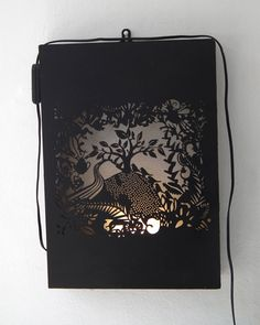Laser cut Light Box - Mystic Forest   Matte Black - 64 x 44cm  Available at www.unwrapped.co.za