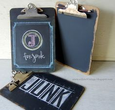 Chalkboard paint + clipboards. And a little chalk art.