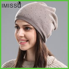 IMISSU Women s Winter Hat Knitted Wool Beanie Female Fashion Skullies  Casual Outdoor Mask Ski Caps Thick Warm Hats for Women f2baa24582c