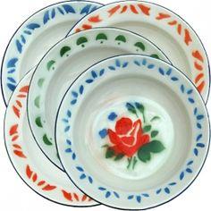 enamel floral plates