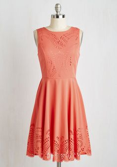 Invitation Designer Dress in Coral - Mid-length, Coral, Solid, Party, A-line, Sleeveless, Scoop, Cutout, Wedding, Bridesmaid