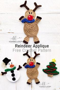 Adorable Crochet Reindeer Applique Pattern - Knit And Crochet Daily Crotchet Patterns, Christmas Crochet Patterns, Applique Patterns, Christmas Knitting, Knitting Patterns, Free Crochet, Knit Crochet, Crochet Beard, Christmas Crafts