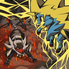 Mega Houndoom vs. Mega Manectric by chirenbo.deviantart.com on @deviantART