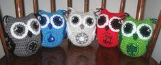 Magic the gathering crocheted owl set by HookedOnOwls on Etsy, $50.00