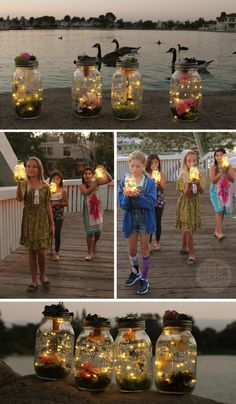 Make Your Own Light-Up Fairy Jars for Kids Capture 'fairies' or fireflies forever in this light-up mason jar. We show you how you and the kids can make your own from scratch. Fairy Birthday Party, Garden Birthday, Birthday Party Themes, Girl Birthday, Fairy Lights In A Jar, Fairy Jars, Forest Party, Woodland Party, Ben E Holly