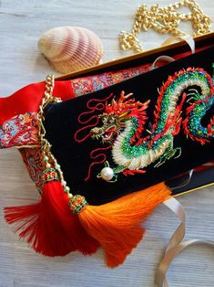 Emerald Dragon, Emerald Green, Beaded Embroidery, Hand Embroidery, Boho Bags, Embroidered Clothes, Pretty Box, Chinese Dragon, Silk Ribbon