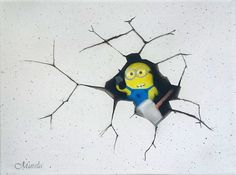 Minion with hammer on canvas