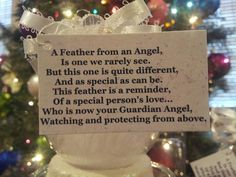 Guardian Angel feather, ornament and poem