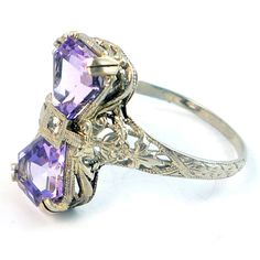18K Antique Art Deco 1920s Amethyst Diamond by laurenrosedesign, $428.00...this is just cool!!!