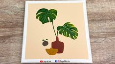 Tropical Plant Minimalist Art   Easy Acrylic Painting for Beginners   Jo... Acrylic Painting For Beginners, Simple Acrylic Paintings, Acrylic Art, Plant Painting, Painting & Drawing, Tropical Plants, Minimalist Art, Art Lessons, Art Projects