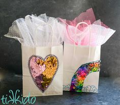 Mermaid reversible sequin fabric gift bags tutorial. Make your plain paper gift bags fabulous and sparkly with this easy, creative gift wrapping tutorial.