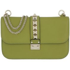 Valentino Shoulder Bag - Rockstud Lock Shoulder Bag Medium Acid Grass... (€1.645) ❤ liked on Polyvore featuring bags, handbags, shoulder bags, green, shoulder handbags, leather shoulder bag, valentino shoulder bag, leather shoulder handbags and green leather handbag