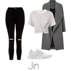 Coffee with Jin by infires-jhope on Polyvore featuring moda, T By Alexander Wang, Miss Selfridge, New Look and adidas