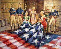 La bannière étoilée, le drapeau des Etats-Unis. Afin de souligner la fraternité et la solidité des liens qui unissent les Etats américains, les bandes du drapeau sont cousues entre elles.