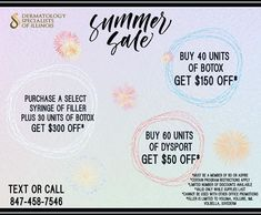 July Specials!!! Only while supplies last 😃  #botox #beauty #fillers #filler #skincare #juvederm #antiaging #lips #aesthetics #lipfillers #algonquin #algonquinil #dermatology #dermatologistalgonquin #drkhanna #dsi #microneedling #prp #restylane #dermalfillers #skin #laser #lipfiller #medspa #harmonizacaofacial #aesthetic #facial #injectables #allergan Dermal Fillers, Lip Fillers, Celebrations, Facial, Aesthetics, Skincare, How To Apply, Lips, Beauty