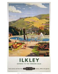 1957 British Railways LNER Poster of ILKLEY Gateway to the Yorkshire Dales by artist Frank Sherwin 1896 - 1986 This poster is printed using only Posters Uk, Train Posters, Railway Posters, Cool Posters, Poster Prints, Art Prints, British Travel, Travel Ads, Train Travel