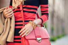 coral/red and black stripes 90s Fashion, Womens Fashion, Fashion Night, Street Fashion, Winter Fashion, Wendy's Lookbook, Red Purses, Cute Dresses, Preppy
