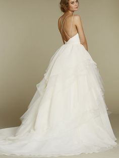 Crystal Georgette Ballet Bodice Bridal Ball Gown Wedding Dress with Spaghetti Strap
