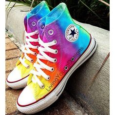 Items similar to TIE DYE CONVERSE Rainbow Custom Tie Dye Hi Top... ❤ liked on Polyvore featuring accessories