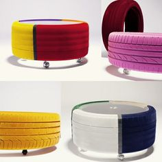 neumático de coche reciclaje de muebles amarillo púrpura de los neumáticos para automóviles