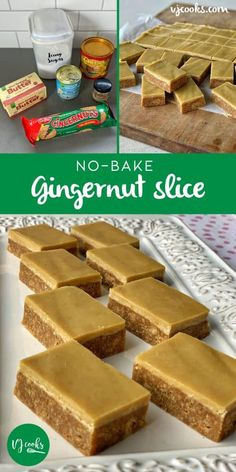This no bake gingernut slice has a biscuit, butter and condensed milk base and is iced it with a simple ginger and golden syrup icing. Tray Bake Recipes, Baking Recipes, Cake Recipes, Dessert Recipes, Chocolate Weetbix Slice, No Bake Slices, Baking Tins, Chocolates, Biscuit Recipe