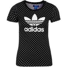 adidas Originals Print Tshirt (57 BRL) ❤ liked on Polyvore featuring tops, t-shirts, black, sport, collar t shirt, adidas originals tee, print tees, round neck t shirts and adidas originals t shirt