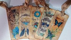 Blue Forget Me Knot Flower Bookmarks Set by Heartmadelinensgifts