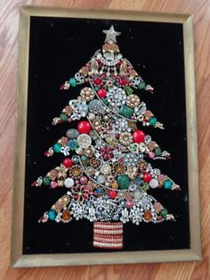 Vintage Framed Antique Jewelry Christmas Tree Pin Art Rhinestones Brooch Picture in Collectibles, Holiday & Seasonal, Christmas: Modern (1946-90) | eBay