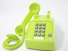 I love it!!  Vintage Phone chartreuse push button telephone. $68.00, via Etsy.