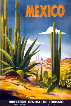 MEXICO VINTAGE TRAVEL POSTER This is a current print which has been digitally edited and restored. The original ad was illustrated in 1950 by Magallón. WORLDWIDE EXPRESS SHIPPING!! All orders require 1 Business day for processing and ship via Express Delivery. You will receive