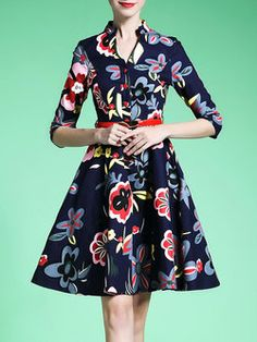Multicolor 3/4 Sleeve Floral Print Stand Collar A-line Midi Dress with Belt