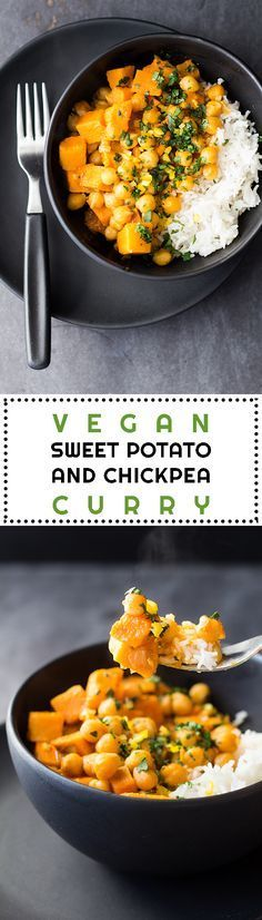 A quick and easy, soy-free, gluten-free, Thai Vegan Sweet Potato and Chickpea Curry for a meatless Monday full of flavor and nutrition!| healthy recipe ideas @Healthy Recipes |