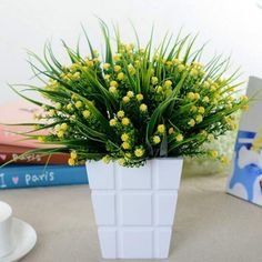 Artificial Charming Green Fake Plant Grass Floral Plastic For Office Table Decor & Garden Fake Plants Decor, Plant Decor, Plastic Flowers, Hotel Wedding, Artificial Plants, Green Grass, Herbs, Garden, Floral