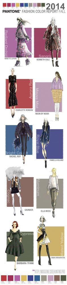 Los 10 colores que serán tendencia en la MODA para la temporada Otoño / Invierno 2014 , mostrados sobre una selección de figurines o fashion sketches incluidos en el reporte de tendencias PANTONE. #coolhunting #tendencias #figurines >> http://magazine.coolhunting.pro