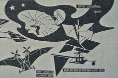 """Mosaik """"Geschichte der Luftfahrt"""" im ehemaliges Collegio Aeronautico G.I.L., das heute teilweise als Schule genutzt wird."""
