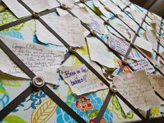 DIY wedding guest book bulletin board