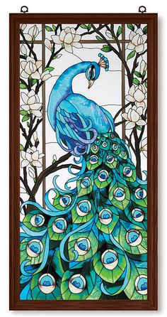 peacock stain glass