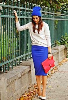 falda lapiz y jersey (visto en 4estilos)