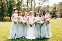 Sage Bridesmaids dresses with bouquets by Hothouse Design Studio. Alabama Wedding Planner, Becky's Brides - Real Wedding - Kelly and Joe - Photo: Mary Margaret Smith