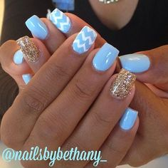 Baby blue, chevron, and gold glitter...