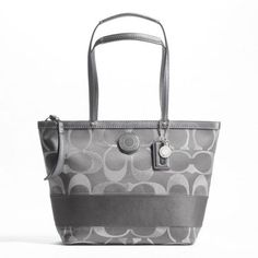 'NWT Coach Signature Stripe 3 Color Metallic Tote' is going up for auction at  3pm Mon, Jan 14 with a starting bid of $10.