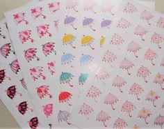 Cute Rain Umbrellas Stickers #cute #rain #umbrella #decorative #stickers  #planner #paper #girlie #stickers #kids #crafts #cards #school #eclp #happy #planner #agenda #diary #journal #calendar #filofax #plum #daydesigner #kikkik #scrapbook #planneradict #planning #journaling